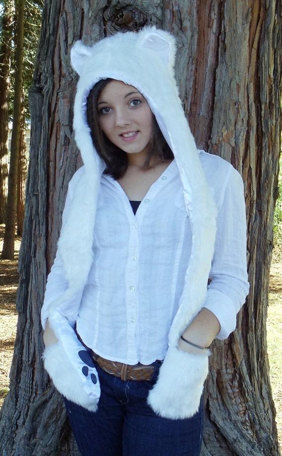 POLAR BEAR Animal Hood Hat Faux Fur