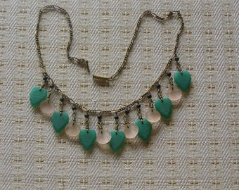 Fabulous Vintage Necklace Shells Leafs Coral Jade