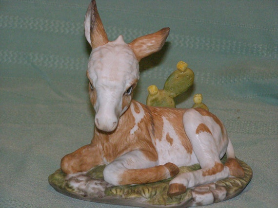 Vintage Discontinued Burro by Homco Masterpiece Porcelain signed Mizuno 1985