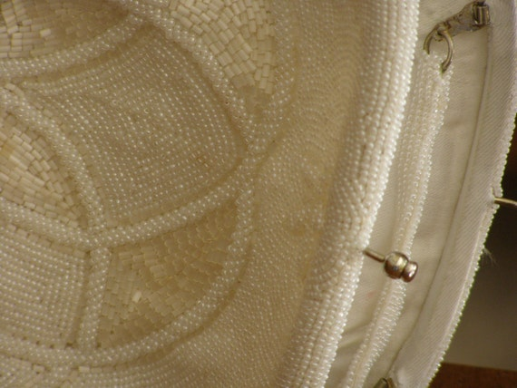 Vintage Beauty Beaded White with that Classic Look - Clutch or Strap
