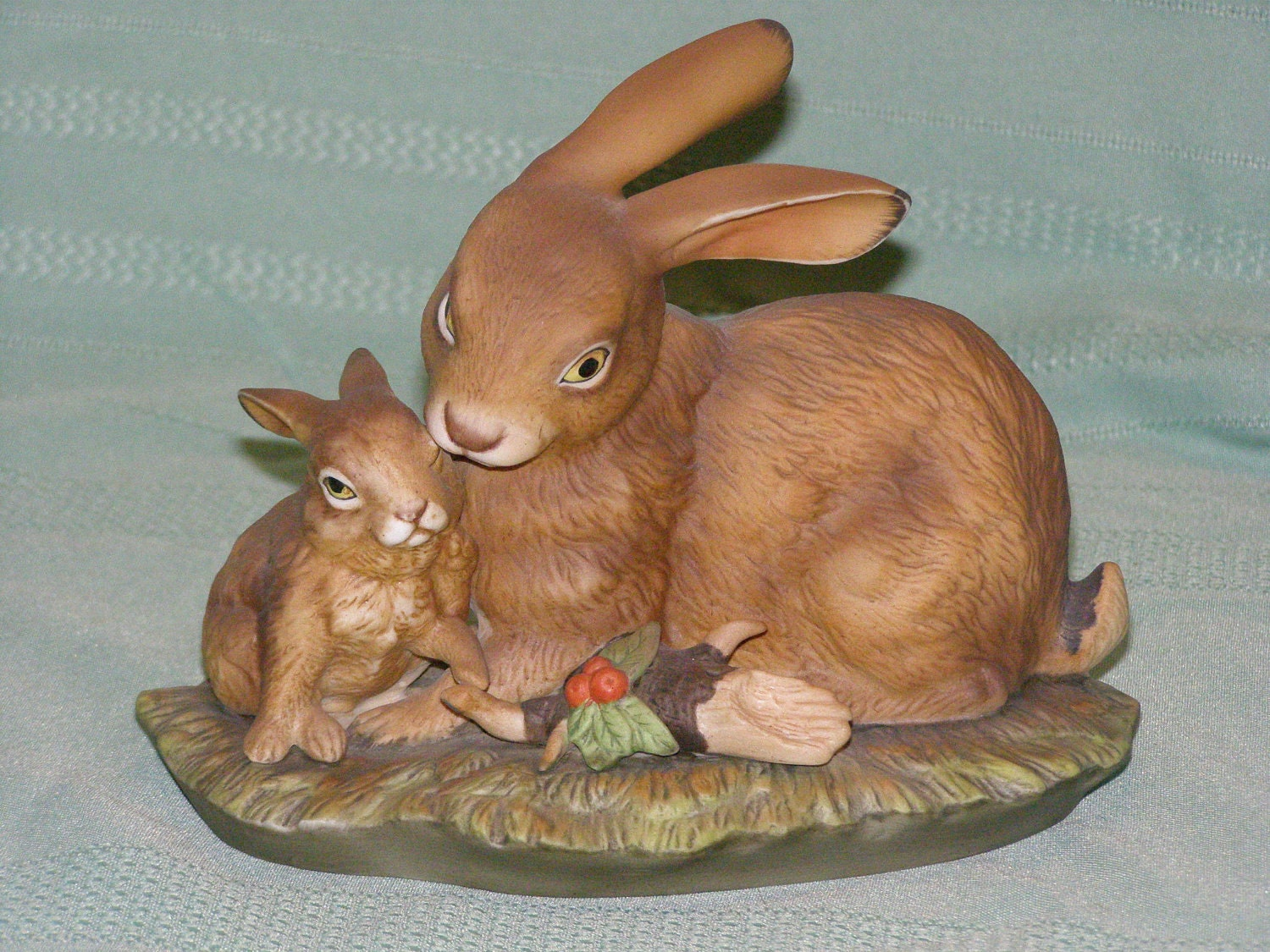 Homco masterpiece porcelain bunny love discontinued by parkie2 for Home interior masterpiece figurines