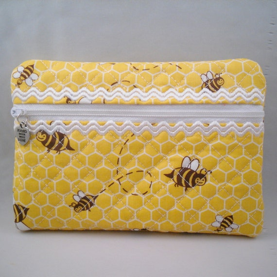 Quilted Zip Purse made with Michael Miller Honey Bee Fabric