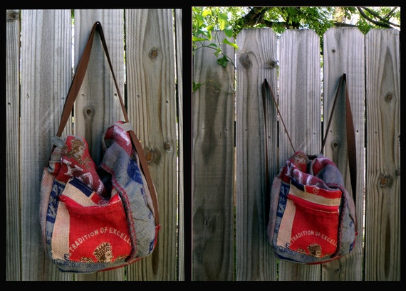Convertible Backpack, made from reclaimed Indian rice sacks