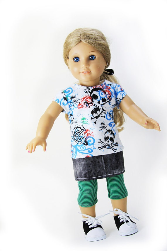 American Girl Doll Clothes - Tee, Skirt and Leggings