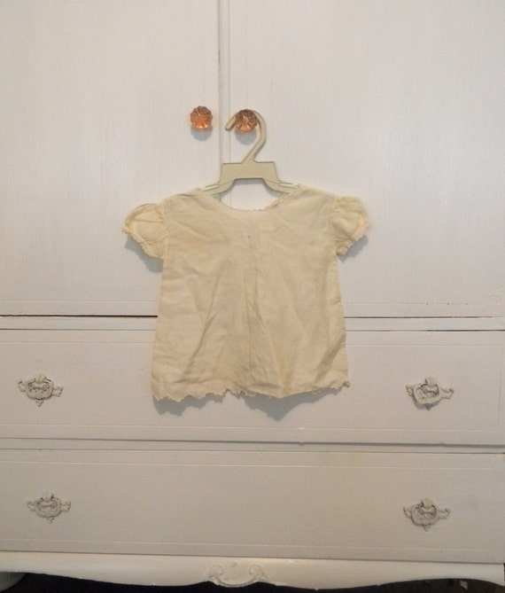 Antique Baby Dress, White Embroidered Cotton
