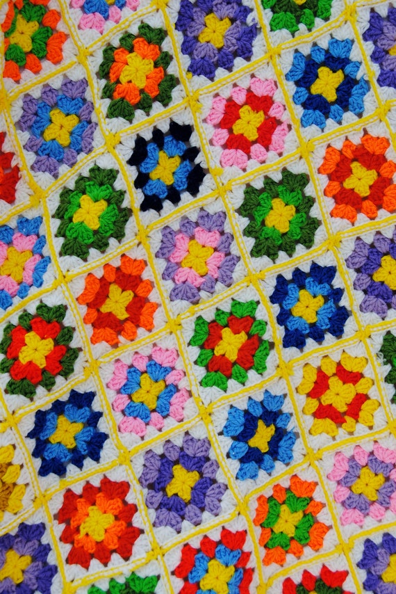 Kaleidoscope crocheted granny square afghan