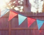 Fine Art Photography - retro garland bunting banner red blue 8x10 original photo print wall art golden sun