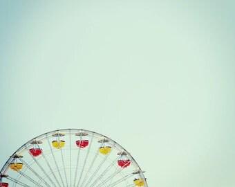 Fine Art Photography - Ferris Wheel Santa Monica Pier 8x12 original carnival rides vintage retro blue sky photo print wall art