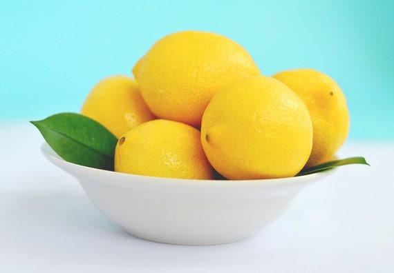 Fine Art Photography - kitchen decor food photography lemons teal yellow blue photo prints wall art