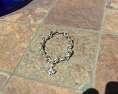 Rolo Silver chain Bracelet with cat charm