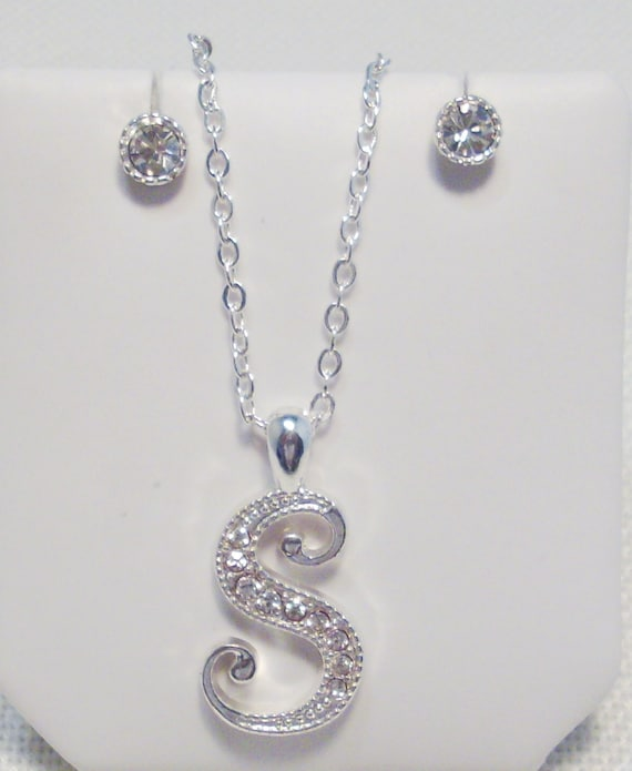 "SALE Genuine Crystal ""S"" Necklace & Earring Set"