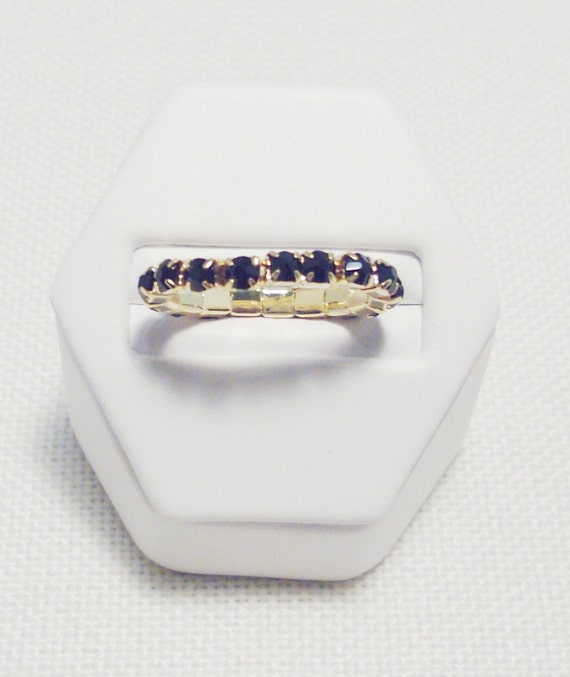 Genuine Dark Sapphire Crystal Gold Plated Stretch Toe/Hand Ring