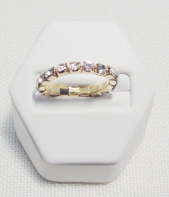 Genuine Diamond Clear Crystal Gold Plated Stretch Toe or Hand Ring
