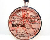 Vintage Map Pendant of Houston, Texas, in Glass Tile Circle