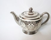 Lusterware Teapot, Silver Vintage, Made in England, Sadler -- Home or Kitchen Decor