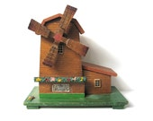 Musical Wooden Windmill, Vintage Music Box