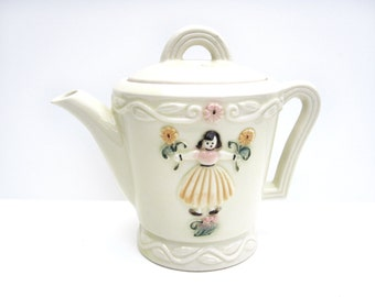 Teapot or Coffeepot, Vintage White Porcelain with Girl, Pink and Yellow Flowers, Kid's Room or Baby Decor