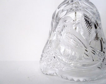 Cut Crystal Bell Ringer with Bird Motif / Design, Clear -- Vintage
