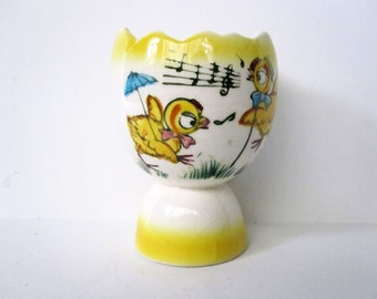 Vintage Japan Egg Cup with Two Chicks or Chickens, Kitchen Decor