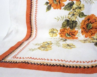 Marigolds Print Tablecloth in Orange, Yellow, Vintage