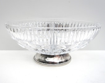 Crystal Divided Bowl with Silver Plate Base, Vintage Home Decor