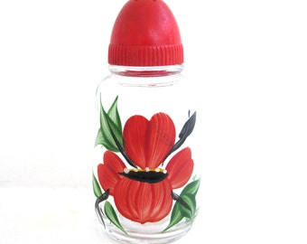 Red Handpainted Floral Shaker, Vintage Kitchen Decor Housewares