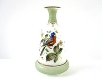 Handpainted Bird Vase, Victorian Bristol Art Glass, Vintage