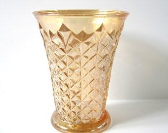 Gold Carnival Glass Vase, Diamond Pattern