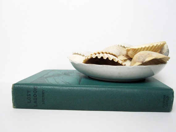 """Hardcover Book with Illustrations -- """"Lost Lagoon"""" -- for Nautical, Beach Cottage Decor with Green Binding"""