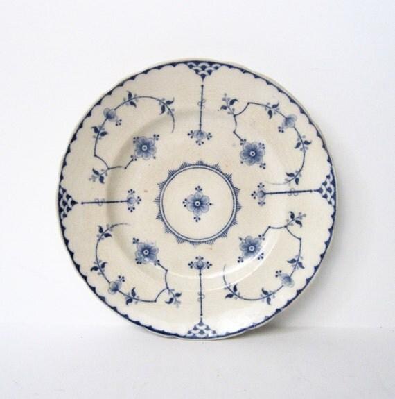 Vintage England Blue Floral Plate Marked Stockholm