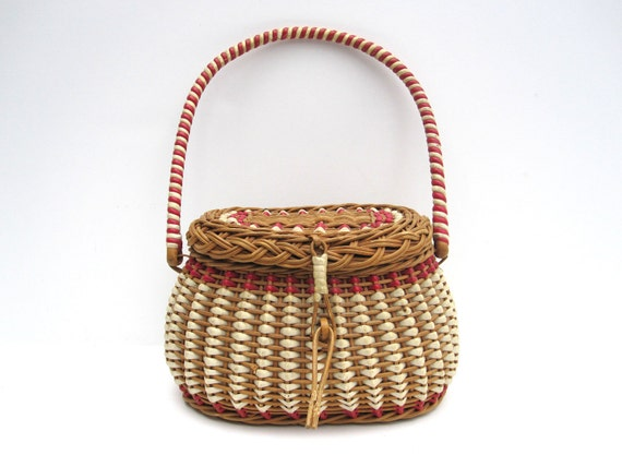 Vintage Woven Basket with Handle, Lid and Red Striping