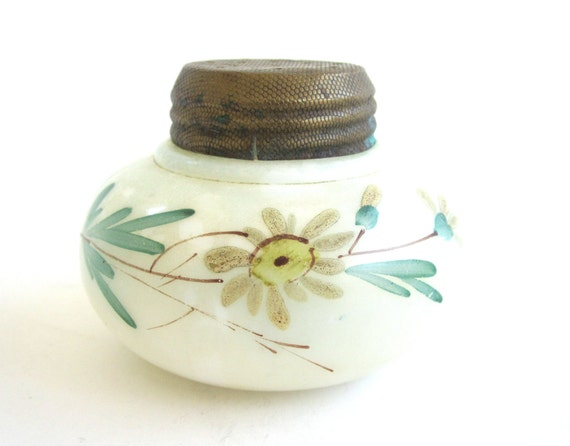 Victorian Handpainted Boudoir Jar, Shaker with Floral Motif, Vintage