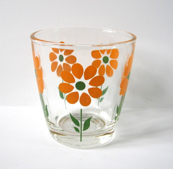 Flower Sour Cream Glass, Orange and Green, Vintage, Collectible