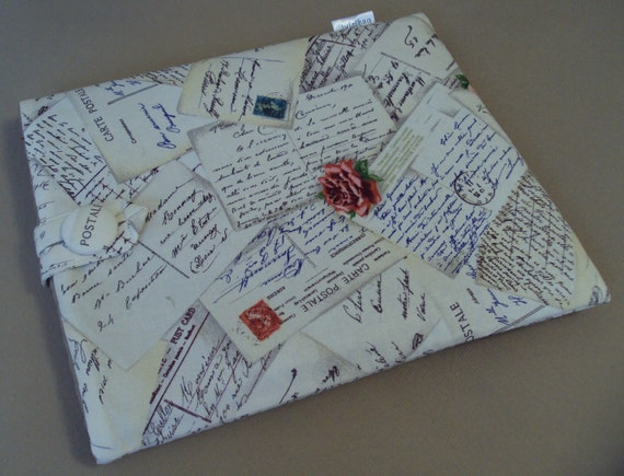 iPad Case / iPad Sleeve / iPad Cover / Galaxy Tablet /  French Post print and Designer Silk in a Old Gold Color READY TO SHIP