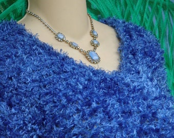 Cache Blue Boucle Short Sleeve 80's Vintage Sweater, Royal Blue, Slouchy, Curly, Fuzzy, Cuddly, sz M
