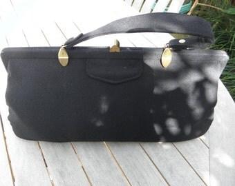Elegant Black Wool Handbag, 1950's Purse,