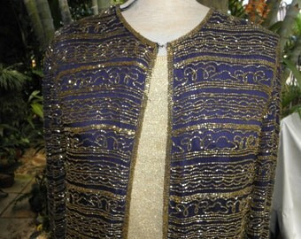 True Navy Blue L/S Vintage Gold Sequined Long Jacket by Nite Waves, 80's, Evening, Nautical, Holiday, sz M-L