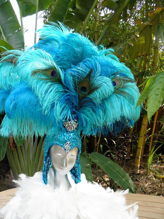 Showgirl Teal Feather Headdress,Vegas Showgirl, Gladiator, Teal sequins, Costume, Burlesque,Circus, Drag queen,, Halloween, Pride,Party
