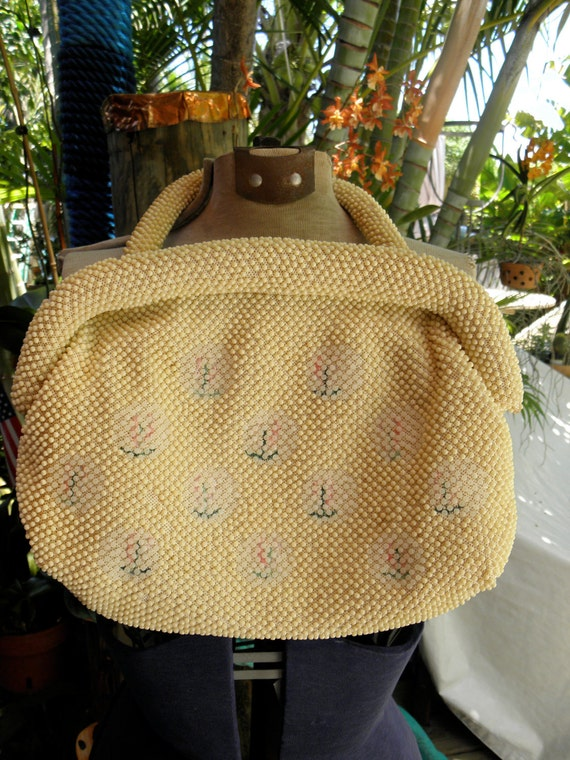 60s Beaded & Embroidered Handbag, 9 x 12, Beaded Handle, Cream Summer Purse, Beaded Bag