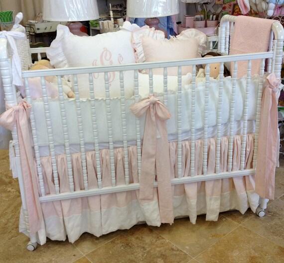 Items Similar To Blush Cream Linen Baby Bedding Set On Etsy