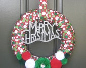 Christmas Ribbon Wreath with Ornament and Coordinating Felt Flowers, Christmas wreath, holiday wreath, red, green, white, polka dot