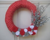 Candy Cane Christmas Wreath with Silver Ornament, Christmas wreath, yarn wreath, red white silver gray