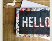 Hello. Note Cards (Set of 5) -- (Simple, Vintage-Style, Typography, Flowers, Orange, Gray, Gift Under 10, Bold, Modern, Cute, Hi, Greeting)