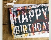 Happy Birthday. Note Cards (Set of 5) -- (Typography, Summer, Bright, Orange, Red, Gray, Black, Floral, Bold, Fun, Unique, Gift Under 10)