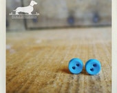 Electric Blue. Itty Bitty Button Post Earrings
