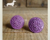 CLEARANCE! Purple Cirque. Post Earrings -- (Vintage-Style, Flowers, Violet, Round, Metal, Pantone Radiant Orchid, Bridesmaid Gift Under 5)