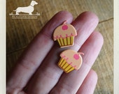 CLEARANCE! Cherry Top. Post Earrings -- (Cute, Pink, Cupcake, Muffin, Kitcsh, Funny, Foodie, Birthday Gift Under 5, Summer, Food Earrings)