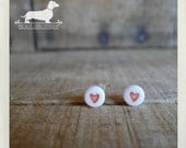 Heart to Heart. Post Earrings -- (Small Heart Studs, Red, White, Simple, Cute, Small, Romantic, Love, Vintage Style, Heart Emoji, Tiny)