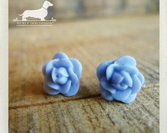 CLEARANCE! Pale Blue. Rosebud Post Earrings -- (Vintage-Style, Baby Blue, Flower Earrings, Bridal Jewelry, Romantic, Feminine, Gift Under 5)