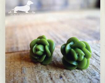 CLEARANCE! Avocado Green. Rosebud Post Earrings -- (Vintage-Style, Green Studs, Rose Studs, Feminine, Romantic, Shabby Chic, Gift Under 5)